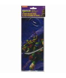 16 Sacchetti di plastica Tartarughe Ninja 10x24 cm