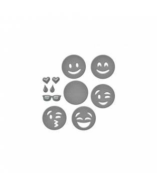 Fustella Spellbinders Die D-Lites, Emojis. Dimensioni pacco 9x17 cm.
