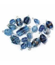 Perle in vetro Acquamarino con filo in argento, da 12 a 25 mm