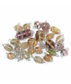 Perle in vetro Rosato con filo in argento, da 12 a 25 mm