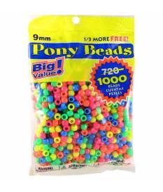 Perline Pony Beads, Neon multicolore
