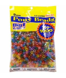 Perline Pony Beads, Transparent Multicolor