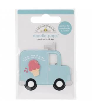 Sticker Ice Cream Truck 3D, Doodlebug Doodle-Pops, 6x9 cm