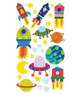 Stickers Sticko Classic, Solar System and Rocket Ship