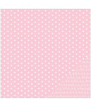 Cartoncino double face, rosa chiaro a pois 30 x 30 cm