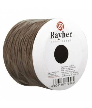 Corda di carta con filo metallico Marrone Scuro, 25 m, 2mm