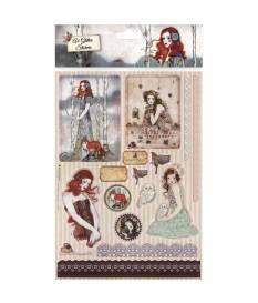Glitter adesivi A4 Santoro Willow, 16 pz