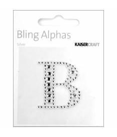 Lettera B in strass autoadesiva colore argento