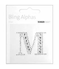 Lettera M in strass autoadesiva colore argento