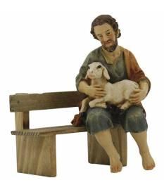 Pastore seduto con pecora, 11 cm, in poliresina