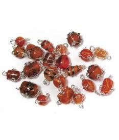 Perle in vetro Arancioni con filo in argento, da 12 a 25 mm