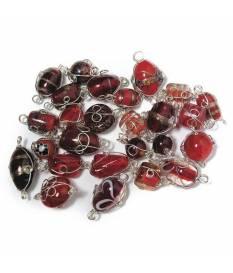 Perle in vetro Rubino con filo in argento, da 12 a 25 mm