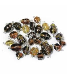 Perle in vetro Smeraldo con filo in argento, da 12 a 25 mm