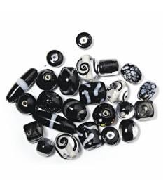 Perline in vetro Nero con monili in rilievo, da 6 a 18 mm