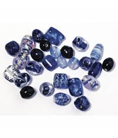 Perline in vetro Zaffiro con monili in rilievo, da 6 a 18 mm