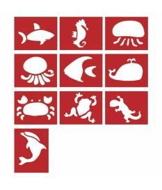 Stencil decorativi animali marini, 10 disegni da 7-11 cm